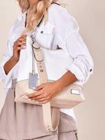 Biało-beżowa torba miejska z eko skóry                                  zdj.                                  5