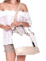 Biało-beżowa torba shopper z eko skóry z odpinanym paskiem                                  zdj.                                  1