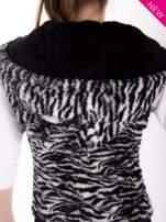 Biało-czarna kamizelka w tygrysie cętki z kapturem z uszkami                                   zdj.                                  9