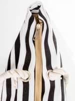 Biało-czarna torba plażowa w paski                                  zdj.                                  8