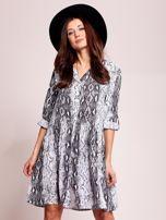 Biało-czarna wzorzysta sukienka na guziki                                   zdj.                                  1