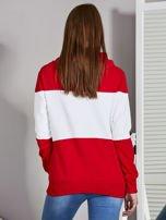 Biało-czerwona modułowa bluza damska z troczkami                                  zdj.                                  2
