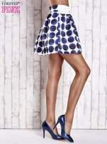 Białoniebieska rozkloszowana spódnica mini w kółka z kokardą                                  zdj.                                  4