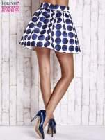 Białoniebieska rozkloszowana spódnica mini w kółka z kokardą                                  zdj.                                  3