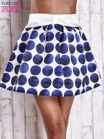 Białoniebieska rozkloszowana spódnica mini w kółka z kokardą
