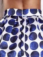 Białoniebieska rozkloszowana spódnica mini w kółka z kokardą                                  zdj.                                  6