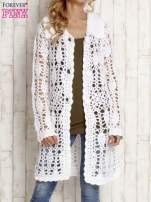 Brązowy długi sweter na guziki