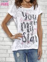 Biały półtransparentny t-shirt z napisem YOU ARE MY STAR                                  zdj.                                  1