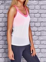 Biały siateczkowy top sportowy z różowym stanikiem