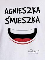 Biały t-shirt damski AGNIESZKA ŚMIESZKA by Markus P                                  zdj.                                  2