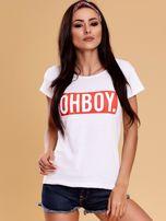 Biały t-shirt damski OH BOY                                  zdj.                                  1