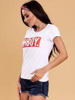 Biały t-shirt damski OH BOY                                  zdj.                                  3