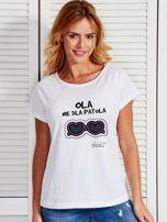 Biały t-shirt damski OLA NIE DLA PATOLA by Markus P                                  zdj.                                  1