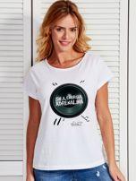 Biały t-shirt damski z głośnikiem ADRENALINA by Markus P                                  zdj.                                  1