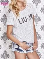 Biały t-shirt w drobne groszki z napisem LIU J❤                                                                          zdj.                                                                         3