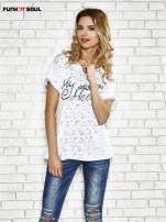 Biały t-shirt w serduszka z napisem MY SWEET HEART Funk 'n' Soul                                  zdj.                                  1