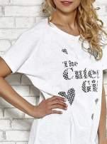 Biały t-shirt w serduszka z napisem THE CUTEST GIRL Funk 'n' Soul                                  zdj.                                  5