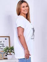 Biały t-shirt z błyszczącą gwiazdą PLUS SIZE                                  zdj.                                  3