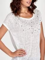 Biały t-shirt z kryształkami                                  zdj.                                  5