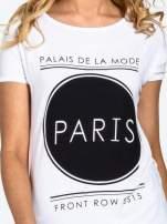 Biały t-shirt z nadrukiem PARIS                                                                          zdj.                                                                         5