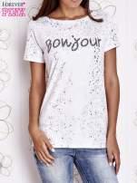 Biały t-shirt z napisem BONJOUR                                  zdj.                                  1