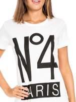 Biały t-shirt z napisem NO. 4 PARIS                                  zdj.                                  5