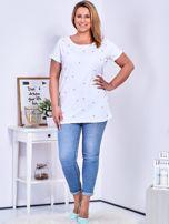 Biały t-shirt z perełkami PLUS SIZE                                  zdj.                                  4