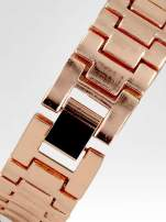 Biżuteryjny zegarek damski z różowego złota na bransolecie z cyrkoniami i perłami                                  zdj.                                  4