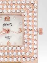 Biżuteryjny zegarek damski z różowego złota na bransolecie z cyrkoniami i perłami                                                                          zdj.                                                                         6