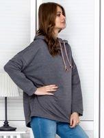 Bluza damska z kolorowymi troczkami ciemnoszara                                  zdj.                                  5