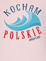 Bluza damska patriotyczna KOCHAM POLSKIE MORZE różowa                                  zdj.                                  2