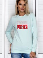 Bluza damska patriotyczna nadruk DOBRA BO POLSKA miętowa                                  zdj.                                  1
