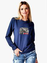 Bluza damska patriotyczna z grafiką I LOVE POLAND granatowa                                  zdj.                                  1