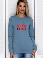Bluza damska patriotyczna z nadrukiem 100% POLKI niebieska                                  zdj.                                  1