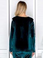 Bluza damska welurowa z jasnymi modułami ciemnozielona                                  zdj.                                  2