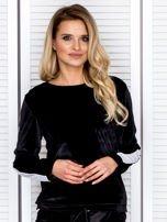 Bluza damska welurowa z jasnymi modułami czarna                                  zdj.                                  1