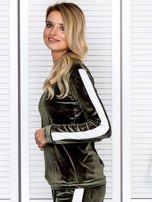 Bluza damska welurowa z jasnymi modułami zielona                                  zdj.                                  5