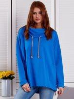 Bluza damska z kolorowymi troczkami niebieska                                  zdj.                                  1