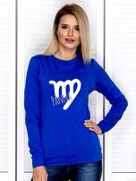 Bluza damska z motywem znaku zodiaku PANNA kobaltowa                                  zdj.                                  1
