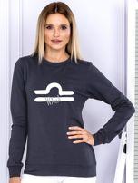 Bluza damska z motywem znaku zodiaku WAGA grafitowa                                  zdj.                                  1