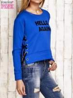 Bluza lace up niebieska z napisem                                  zdj.                                  3
