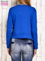 Bluza lace up niebieska z napisem                                  zdj.                                  2