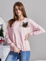 Bluza oversize z cekinowym kotem różowa                                  zdj.                                  6