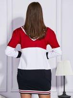 Bluza z kolorowymi modułami czerwona                                  zdj.                                  2