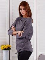 Bluzka damska oversize z kieszenią ciemnoszara                                  zdj.                                  3