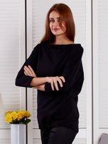 Bluzka damska oversize z kieszenią czarna                                  zdj.                                  3