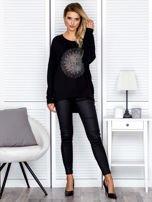 Bluzka damska oversize z kolorowymi dżetami czarna                                  zdj.                                  4