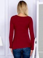Bluzka damska w prążek z paseczkami przy dekolcie bordowa                                  zdj.                                  2
