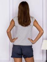 T-shirt z pikowanymi bufkami na ramionach szary                                  zdj.                                  2