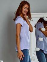 Błyszczący satynowy t-shirt fioletowy                                  zdj.                                  5